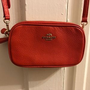 COACH Leather Pebbled Crossbody Clutch